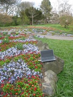 Laptop zwischen Blumenbeeten in einem Park