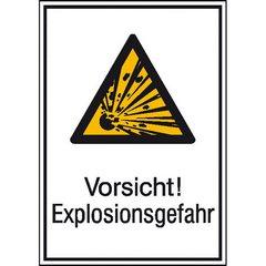 dreieckiges Warnschild mit Hinweis: Vorsicht! Explosionsgefahr!